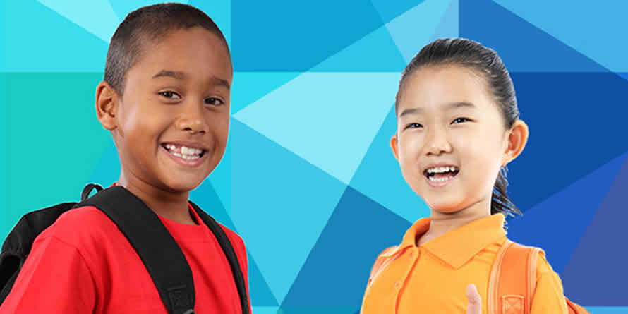 Black boy with black backpack and Asian girl smiling