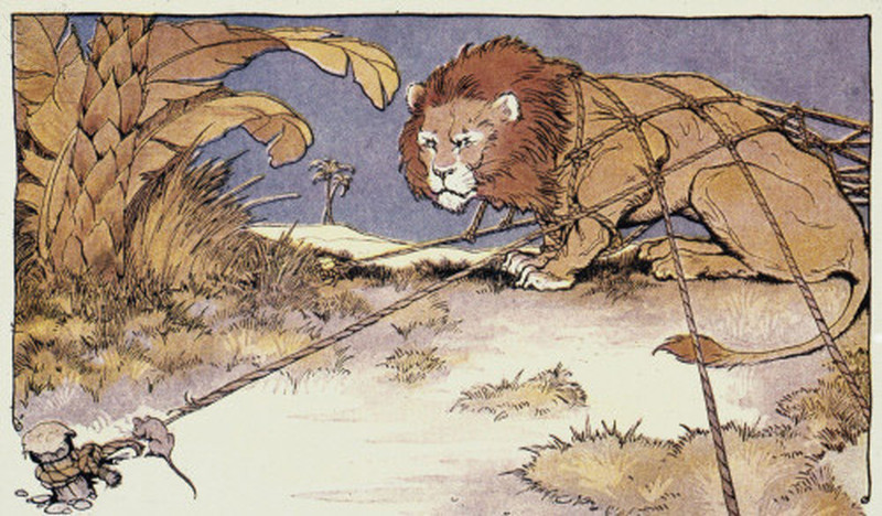 A lion that's trapped by rope and a mouse that's trying to eat through the rope.