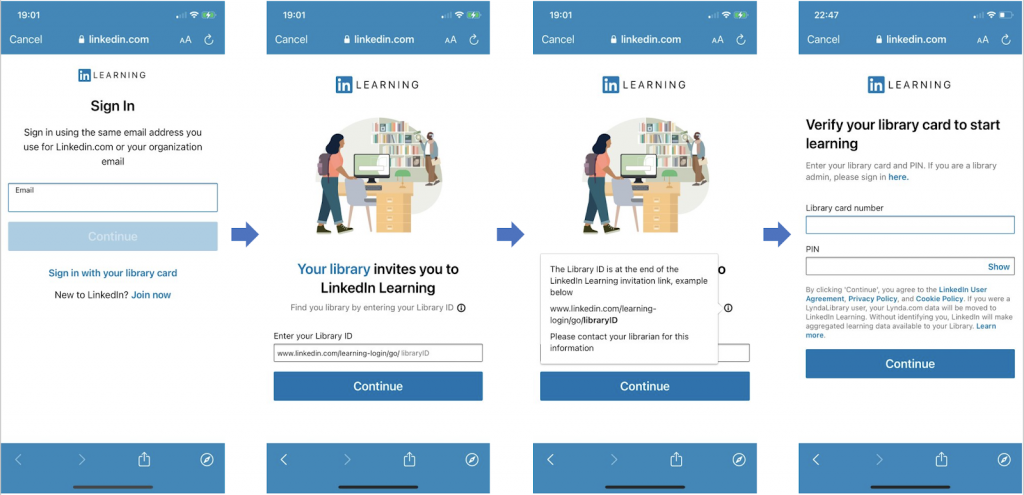 Steps on how to access the LinkedIn Learning App