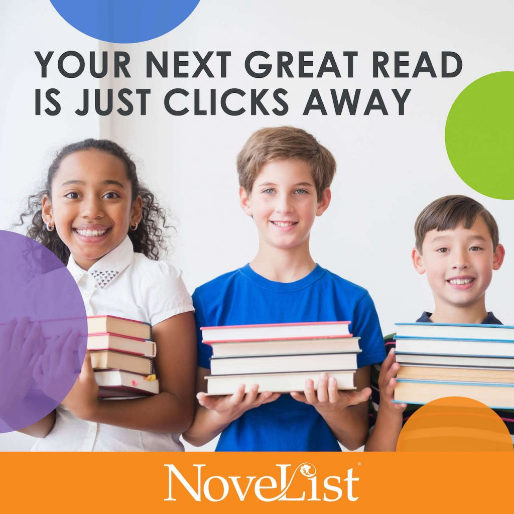Your next great read is just clicks away. Three kids (girl, boy, boy) holding  a stack of books in their hand and smiling at the camera.