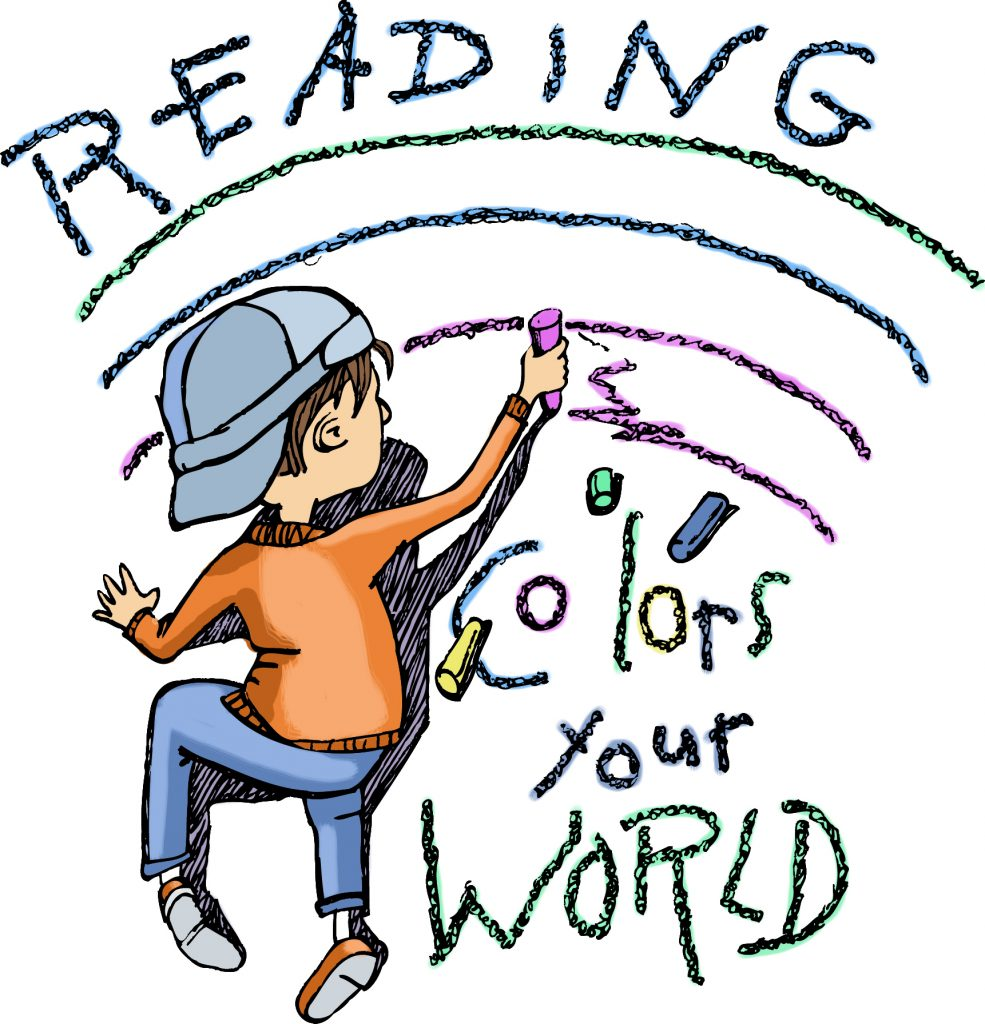 Boy coloring a rainbow with the words Reading Colors Your World.